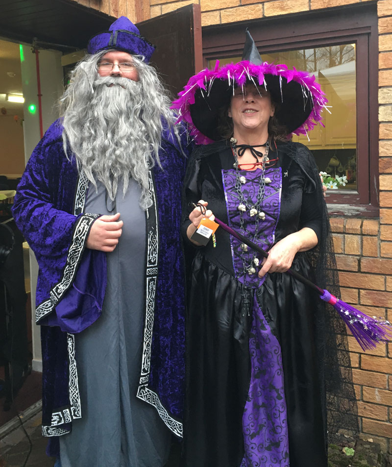 DJ Merlin and Tesco's Evelyn as the community witch