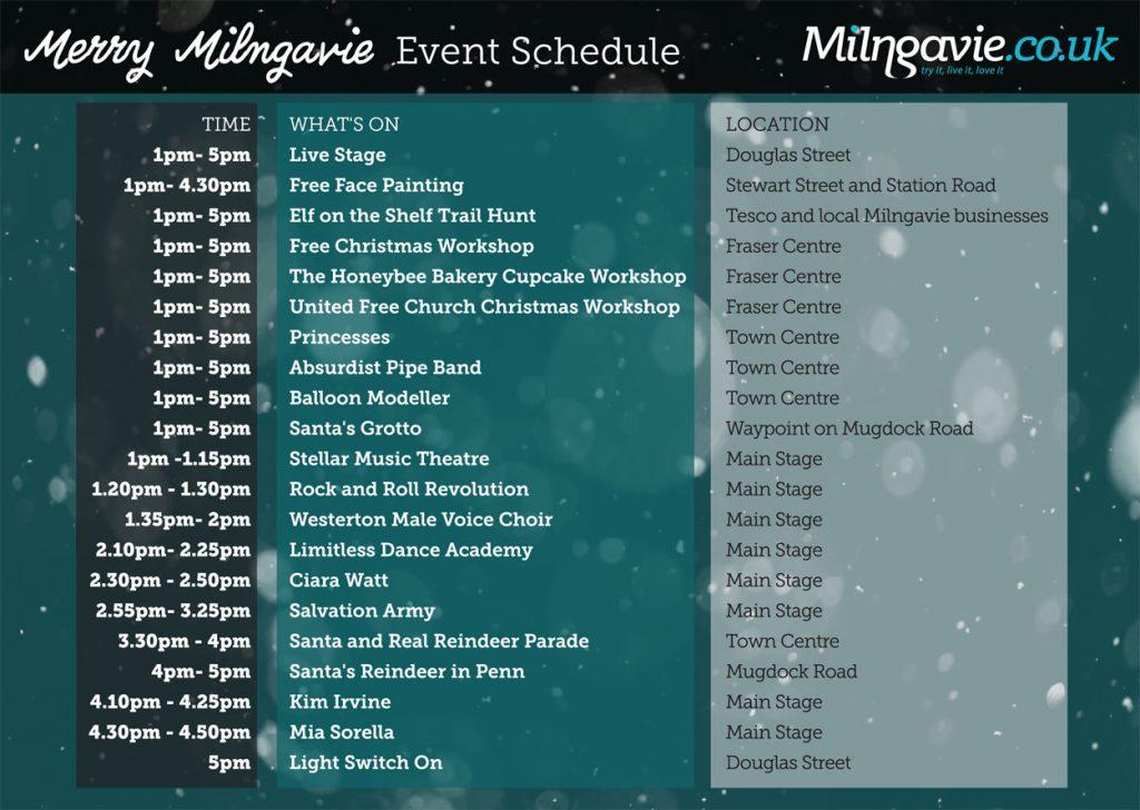 Milngavie Christmas Event Schedule 2019