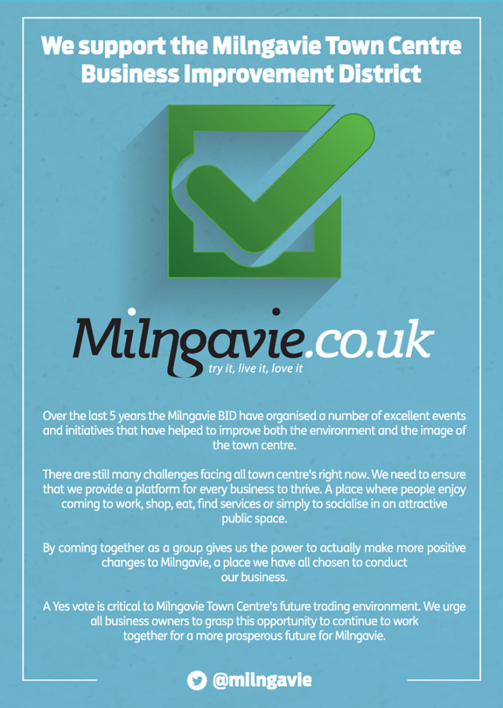 Milngavie Votes Yes for a Renewal BID to 2024