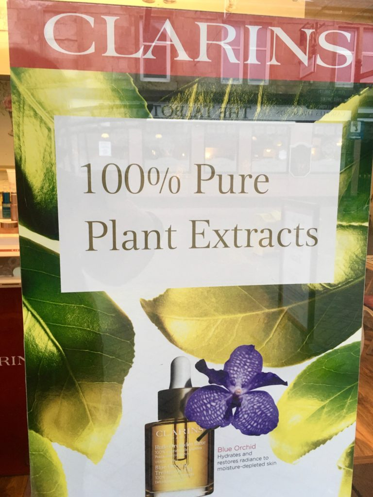 Beauty @ No 25 Clarins 100% pure plant extracts poster