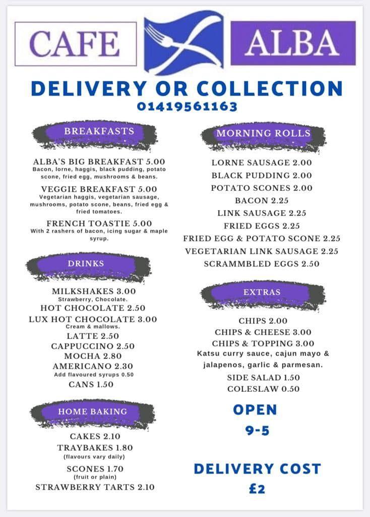 Cafe Alba delivery menu