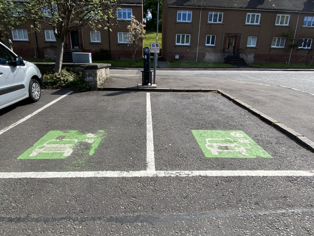 two electric vehicle charging points in Mugdock Car Park