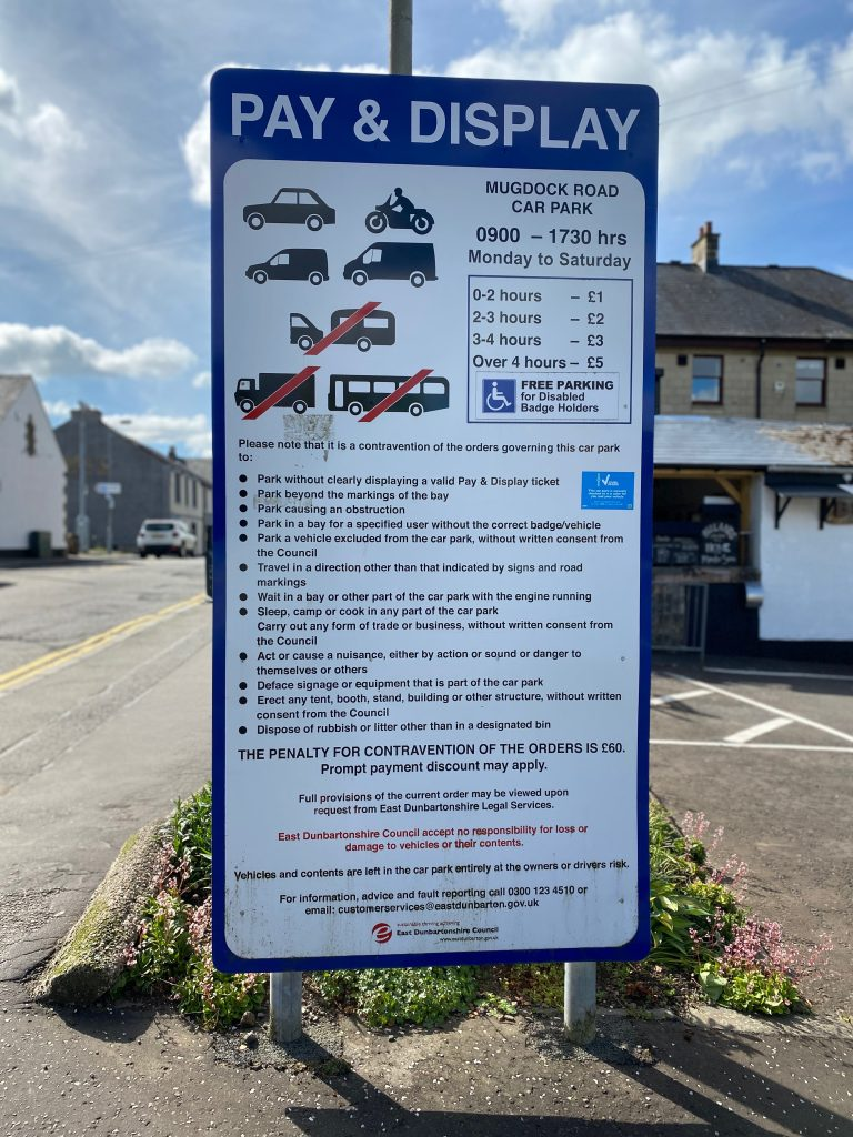 Pay and display parking notice